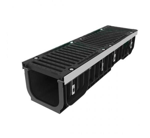 Лоток водоотводный пластиковый PolyMax DN200 с чугунной решеткой кл. E (комплект)