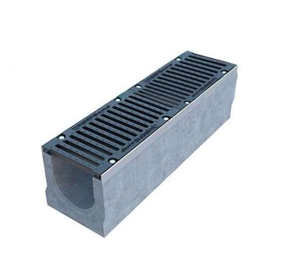 Лоток водоотводный бетонный BetoMax DN200 с чугунной решеткой кл. E (комплект)
