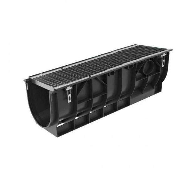Комплект: Лоток водоотводный пластиковый PolyMax Basic DN300 H348 с стальной решеткой кл. А 087001