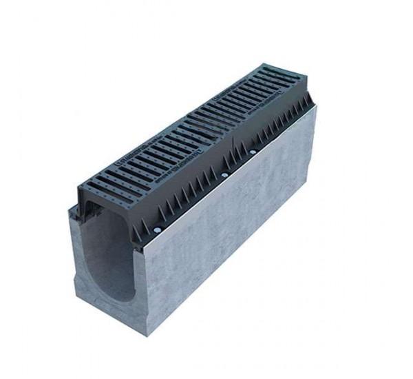 Лоток водоотводной бетонный BetoMax INTENSIV DN200 с чугунной решёткой кл. E (комплект)