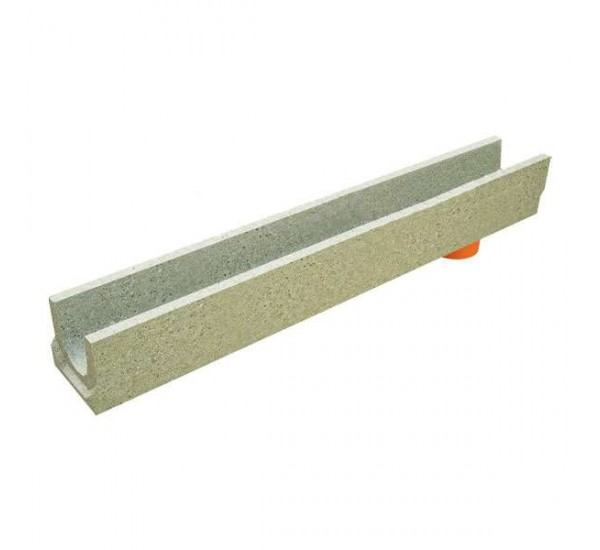 Лоток водоотводный бетонный BetoMax Basic DN100 H130 с вертикальным водоотводом 400009