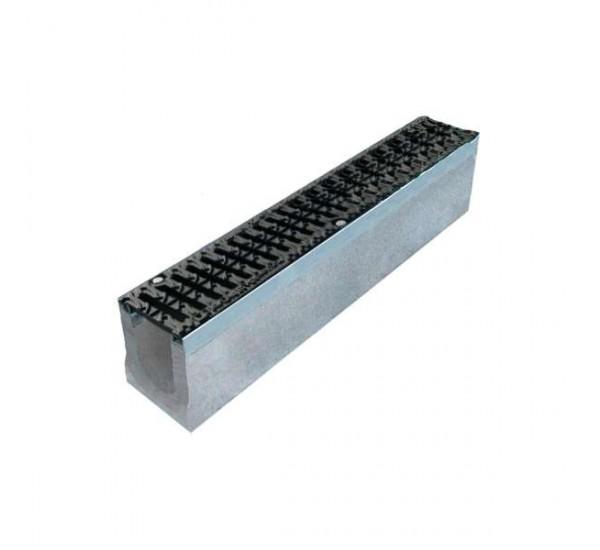 Лоток водоотводный бетонный BetoMax DN110 с чугунной решеткой кл. D (комплект)