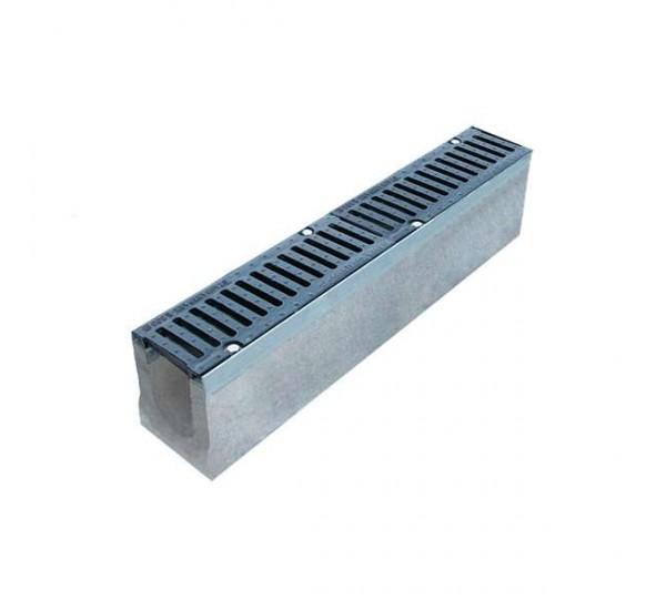 Лоток водоотводный бетонный BetoMax DN110 с чугунной решеткой кл. E (комплект)
