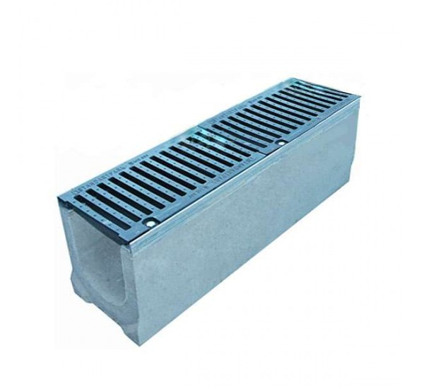 Лоток водоотводный бетонный BetoMax DN160 с чугунной решеткой кл. F (комплект)