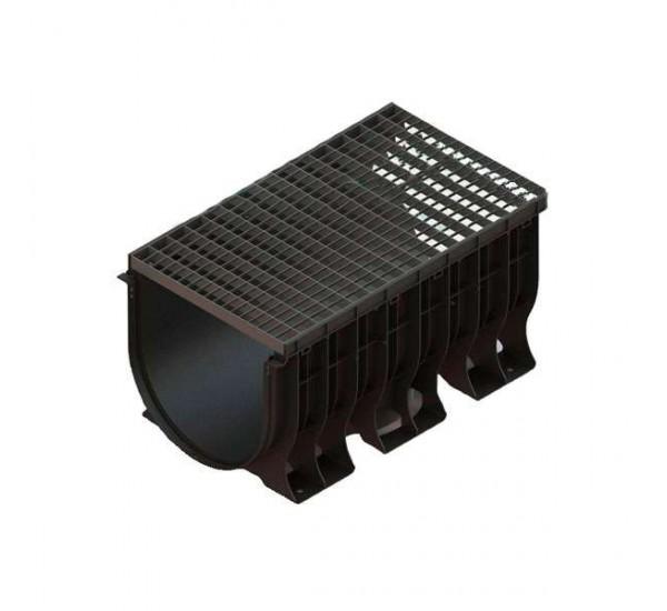 Лоток водоотводный пластиковый PolyMax Basic с яч. оц. решеткой 08900121 (комплект)