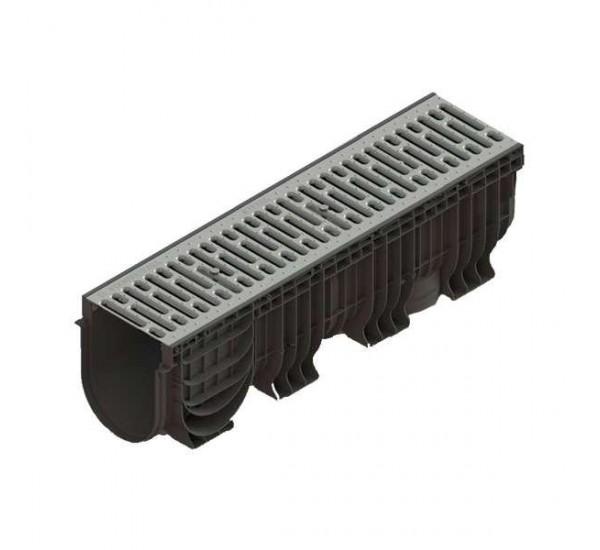 Лоток водоотводный пластиковый PolyMax Basic с шт. ст. оц. решеткой 0856011 (комплект)