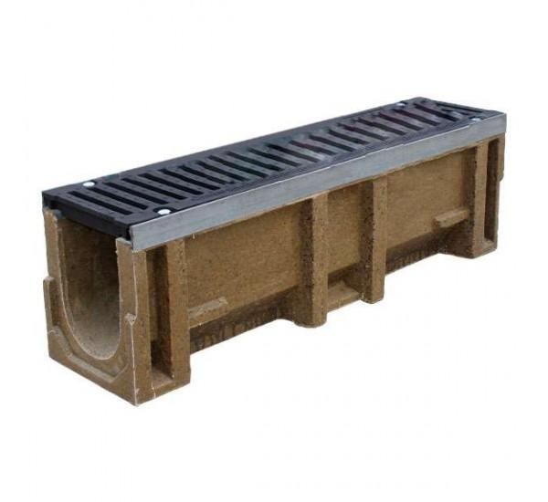 Лоток водоотводный полимербетонный CompoMax DN160 с чугунной решеткой кл. F (комплект)
