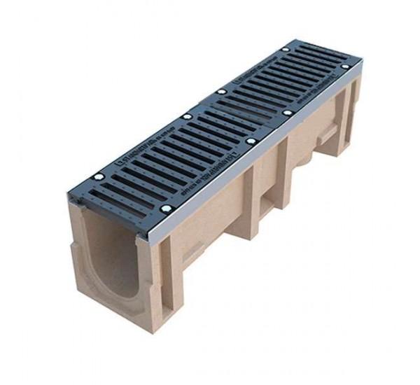 Лоток водоотводный полимербетонный CompoMax DN160 с чугунной решеткой кл. E (комплект)