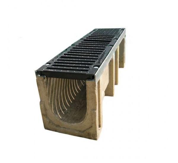 Лоток водоотводный полимербетонный CompoMax DN200 с чугунной решеткой кл. D (комплект)
